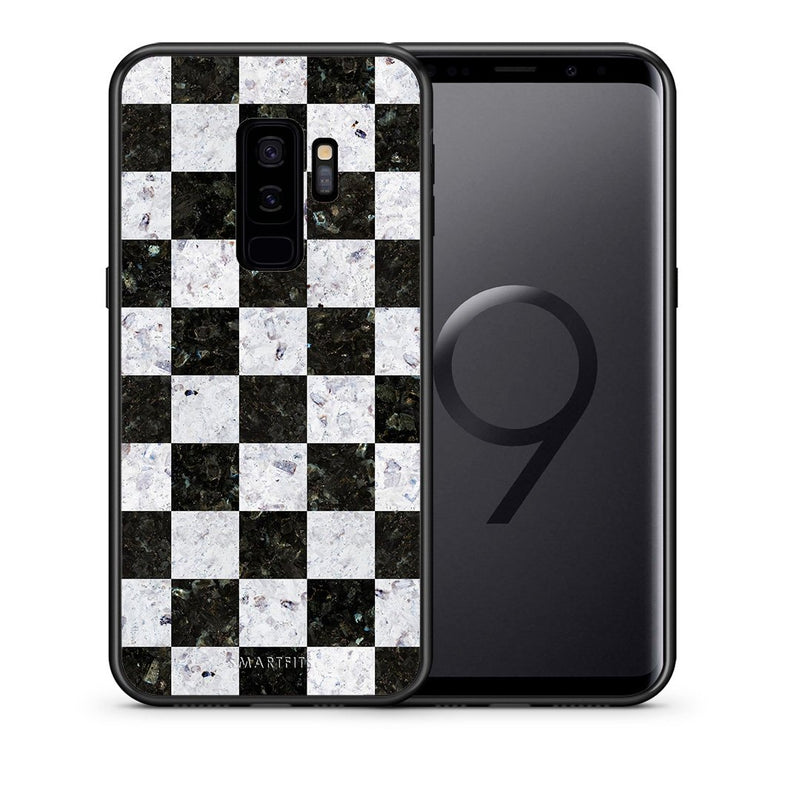 Θήκη Samsung S9 Plus Square Geometric Marble από τη Smartfits με σχέδιο στο πίσω μέρος και μαύρο περίβλημα | Samsung S9 Plus Square Geometric Marble case with colorful back and black bezels