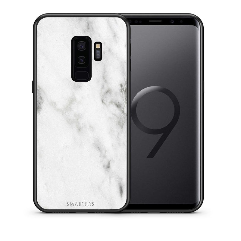 Θήκη Samsung S9 Plus White Marble από τη Smartfits με σχέδιο στο πίσω μέρος και μαύρο περίβλημα | Samsung S9 Plus White Marble case with colorful back and black bezels