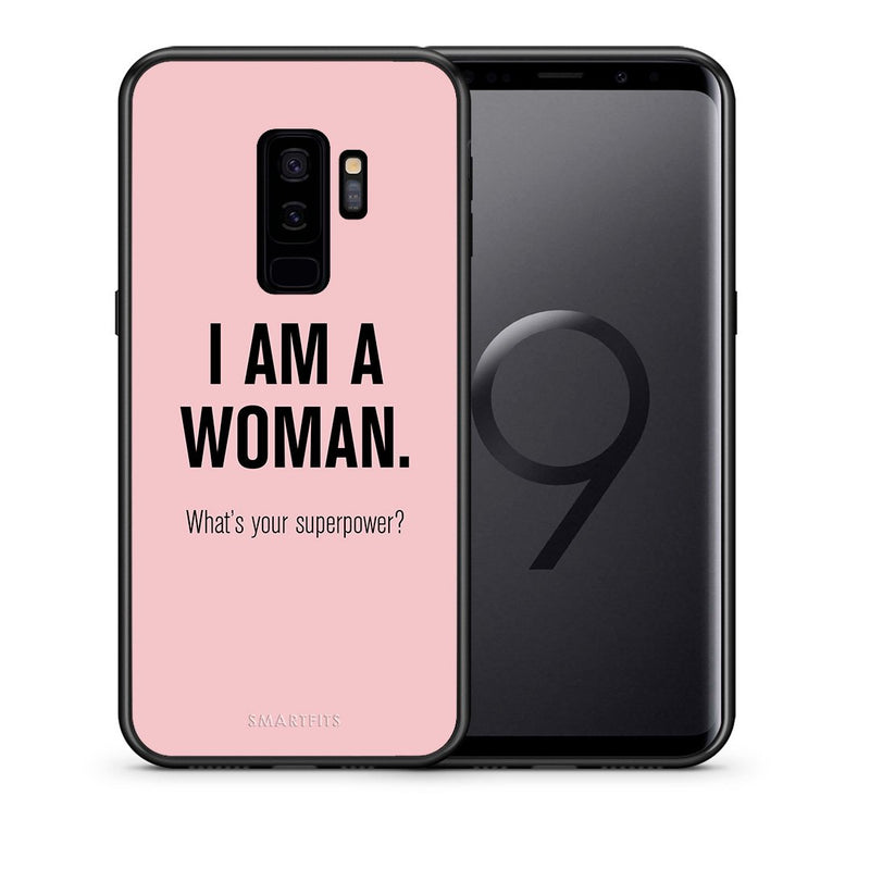 Θήκη Samsung S9 Plus Superpower Woman από τη Smartfits με σχέδιο στο πίσω μέρος και μαύρο περίβλημα | Samsung S9 Plus Superpower Woman case with colorful back and black bezels