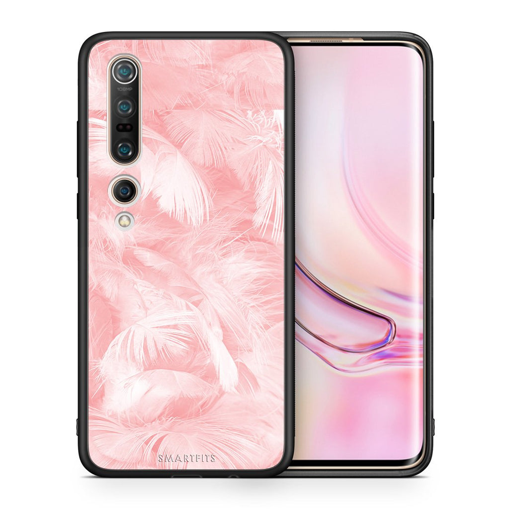 33 - Xiaomi Mi 10/10 Pro  Pink Feather Boho case, cover, bumper