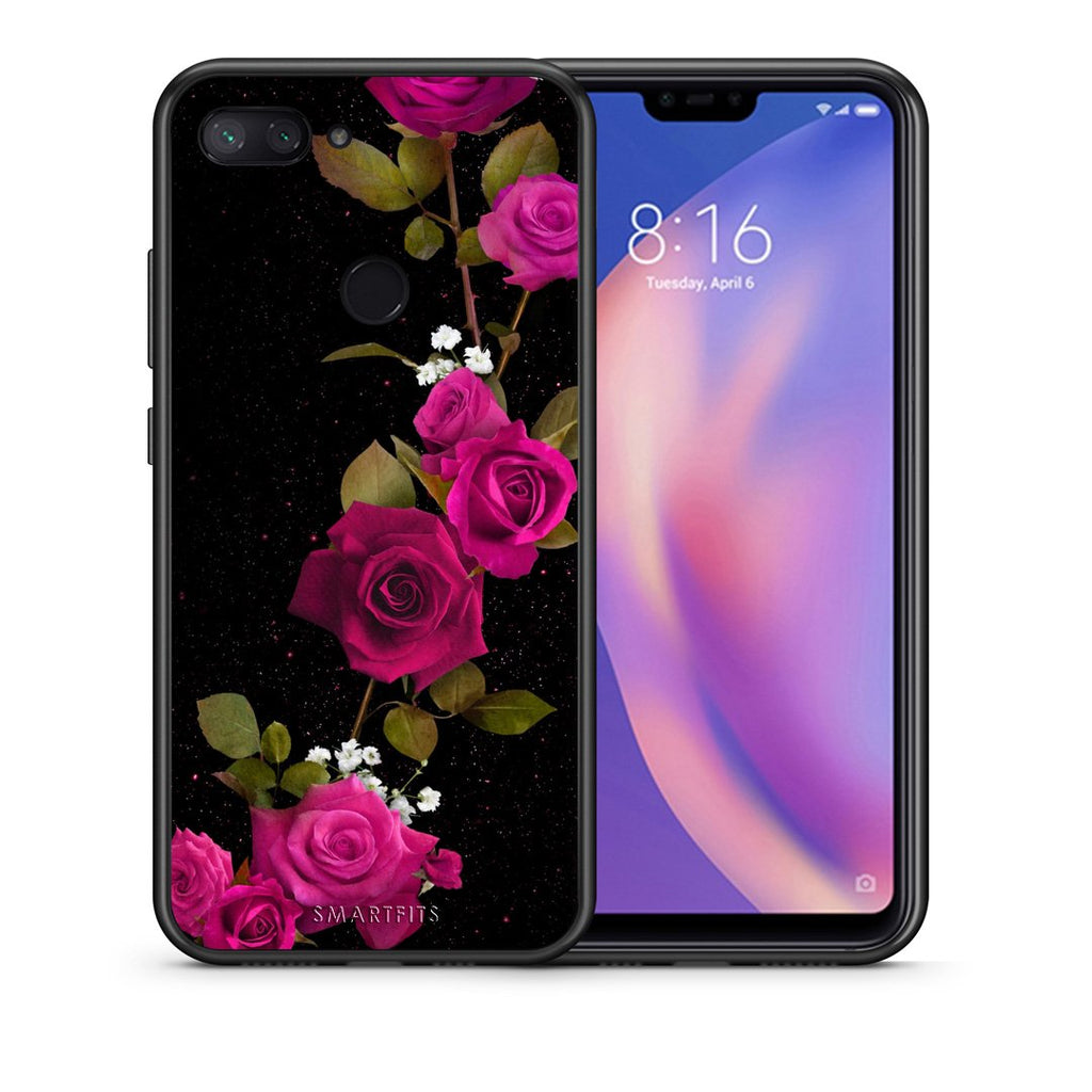 Θήκη Xiaomi Mi 8 Lite Red Roses Flower από τη Smartfits με σχέδιο στο πίσω μέρος και μαύρο περίβλημα | Xiaomi Mi 8 Lite Red Roses Flower case with colorful back and black bezels