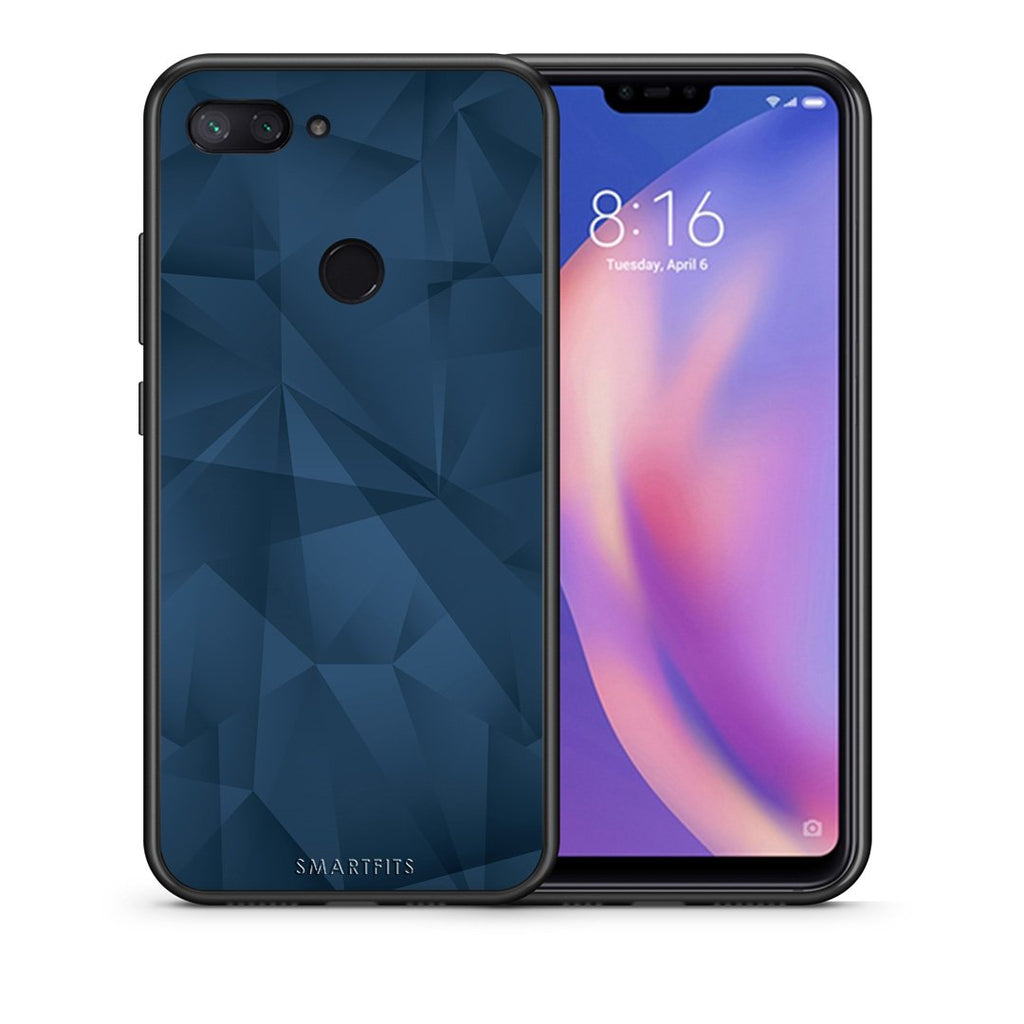 39 - Xiaomi Mi 8 Lite  Blue Abstract Geometric case, cover, bumper