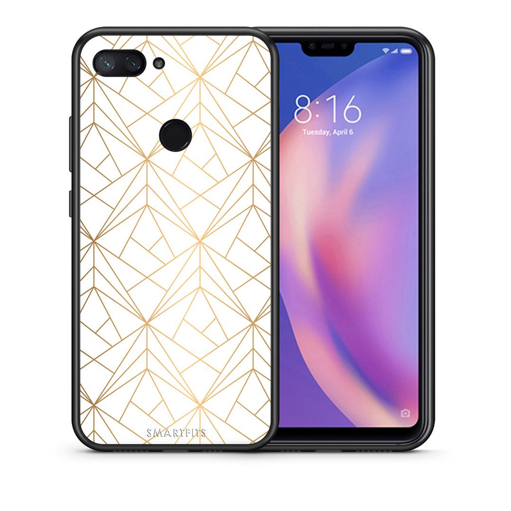 111 - Xiaomi Mi 8 Lite  Luxury White Geometric case, cover, bumper