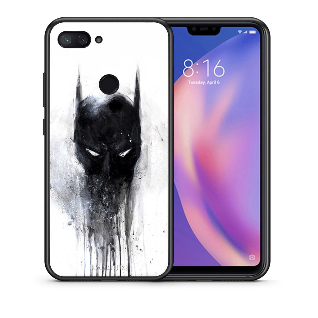 Θήκη Xiaomi Mi 8 Lite Paint Bat Hero από τη Smartfits με σχέδιο στο πίσω μέρος και μαύρο περίβλημα | Xiaomi Mi 8 Lite Paint Bat Hero case with colorful back and black bezels