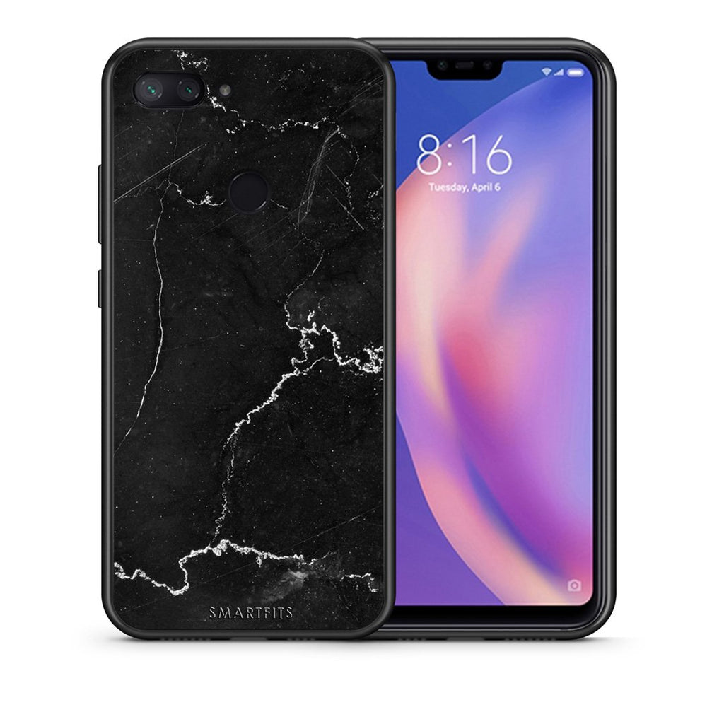Θήκη Xiaomi Mi 8 Lite Black Marble από τη Smartfits με σχέδιο στο πίσω μέρος και μαύρο περίβλημα | Xiaomi Mi 8 Lite Black Marble case with colorful back and black bezels