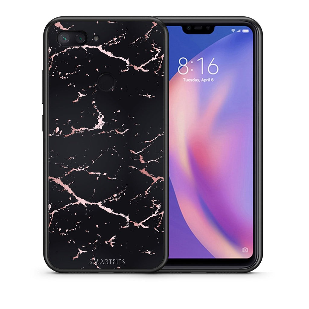 Θήκη Xiaomi Mi 8 Lite Black Rosegold Marble από τη Smartfits με σχέδιο στο πίσω μέρος και μαύρο περίβλημα | Xiaomi Mi 8 Lite Black Rosegold Marble case with colorful back and black bezels