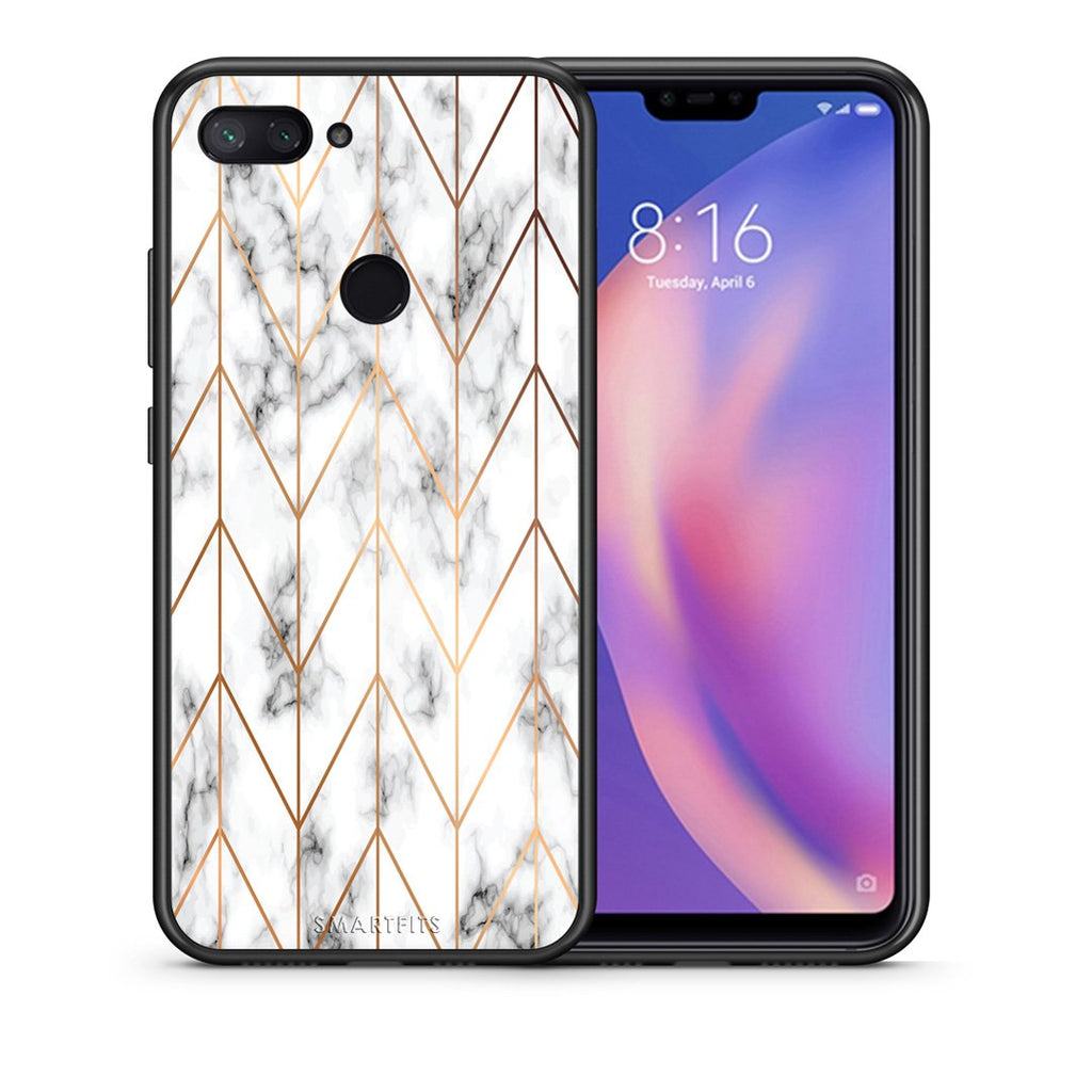 Θήκη Xiaomi Mi 8 Lite Gold Geometric Marble από τη Smartfits με σχέδιο στο πίσω μέρος και μαύρο περίβλημα | Xiaomi Mi 8 Lite Gold Geometric Marble case with colorful back and black bezels