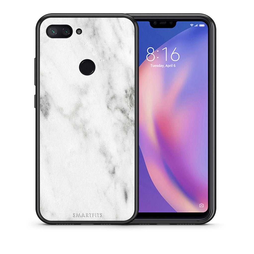 Θήκη Xiaomi Mi 8 Lite White Marble από τη Smartfits με σχέδιο στο πίσω μέρος και μαύρο περίβλημα | Xiaomi Mi 8 Lite White Marble case with colorful back and black bezels