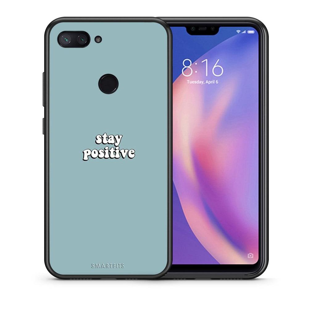 Θήκη Xiaomi Mi 8 Lite Positive Text από τη Smartfits με σχέδιο στο πίσω μέρος και μαύρο περίβλημα | Xiaomi Mi 8 Lite Positive Text case with colorful back and black bezels