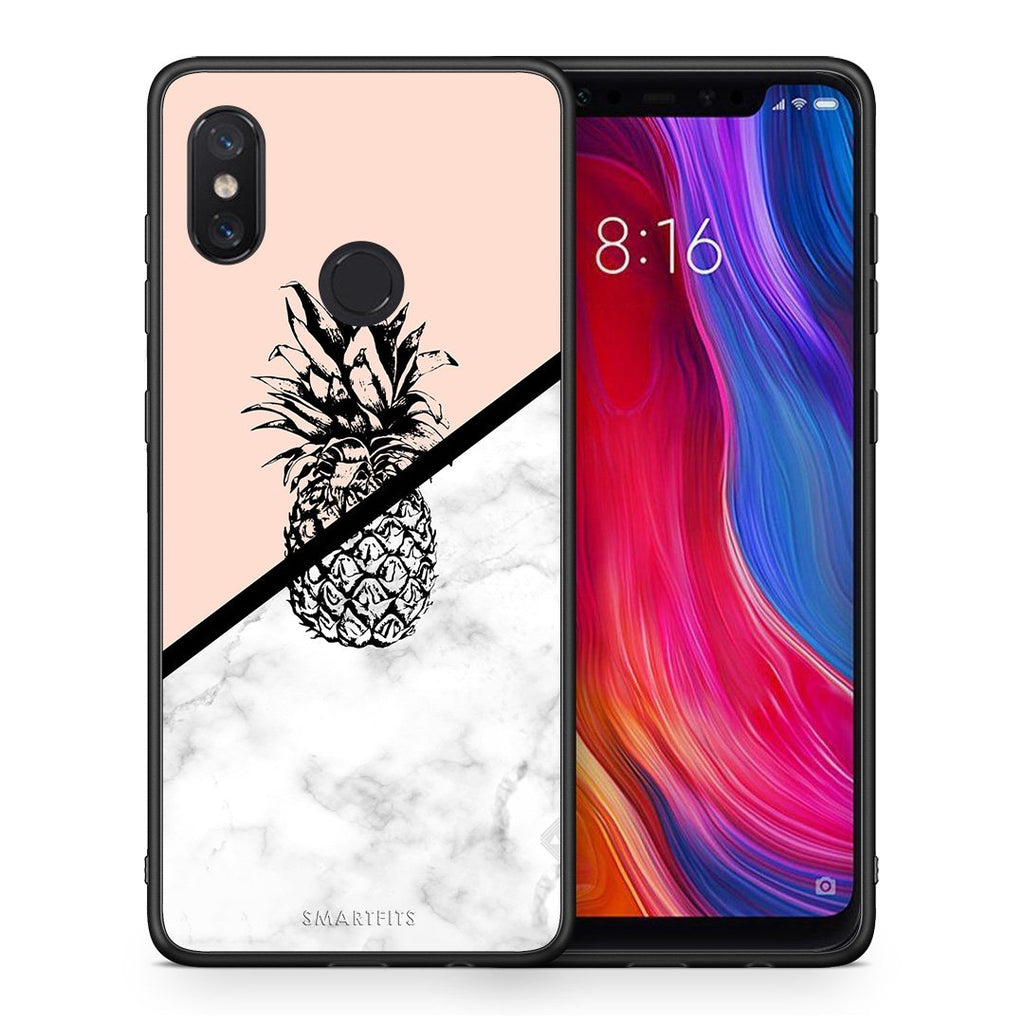 4 - Xiaomi Mi 8 Pineapple Marble case, cover, bumper