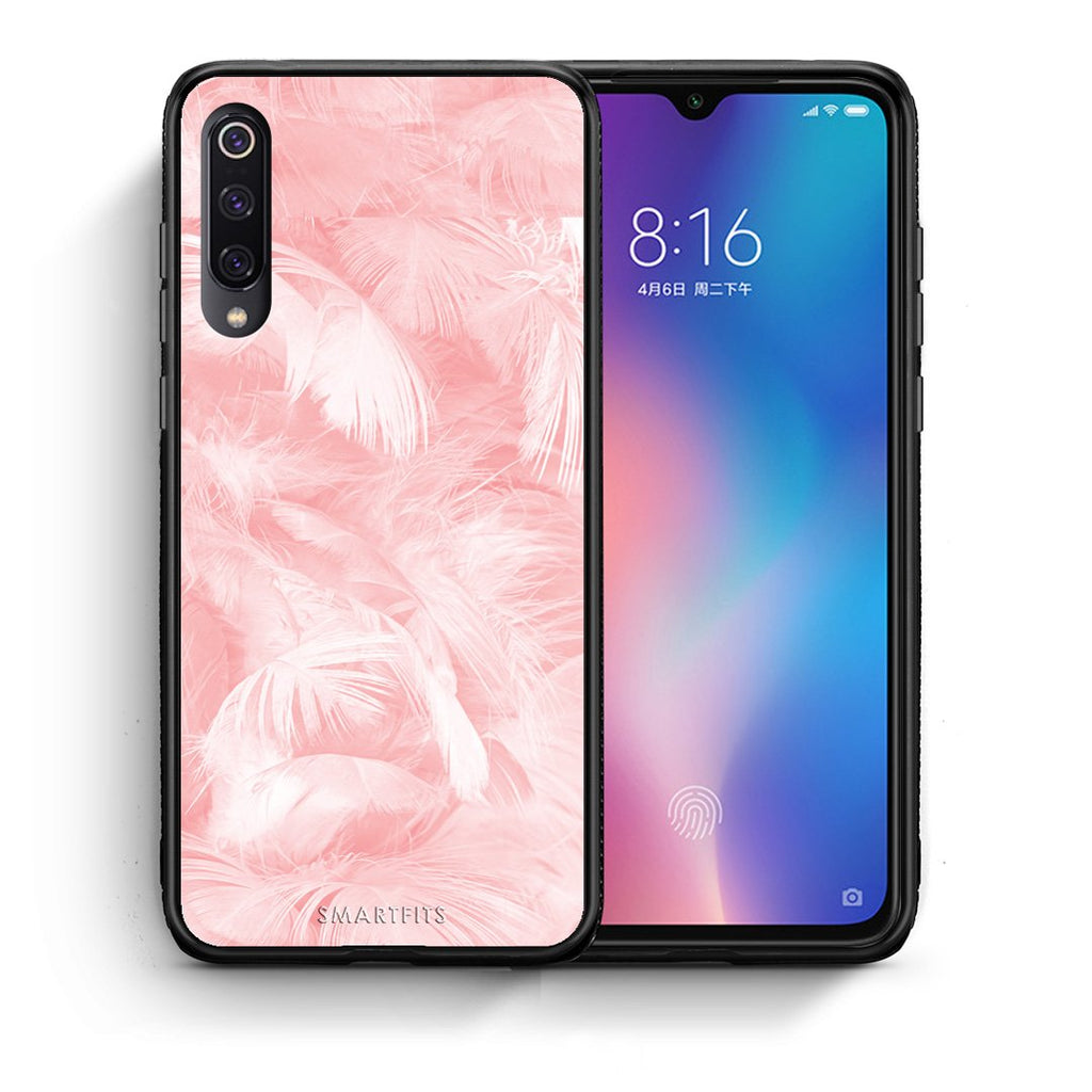 Θήκη Xiaomi Mi 9 Pink Feather Boho από τη Smartfits με σχέδιο στο πίσω μέρος και μαύρο περίβλημα | Xiaomi Mi 9 Pink Feather Boho case with colorful back and black bezels