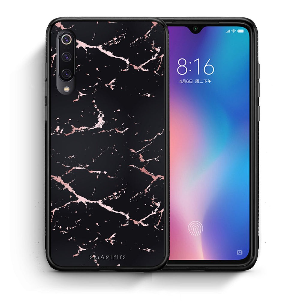 Θήκη Xiaomi Mi 9 Black Rosegold Marble από τη Smartfits με σχέδιο στο πίσω μέρος και μαύρο περίβλημα | Xiaomi Mi 9 Black Rosegold Marble case with colorful back and black bezels