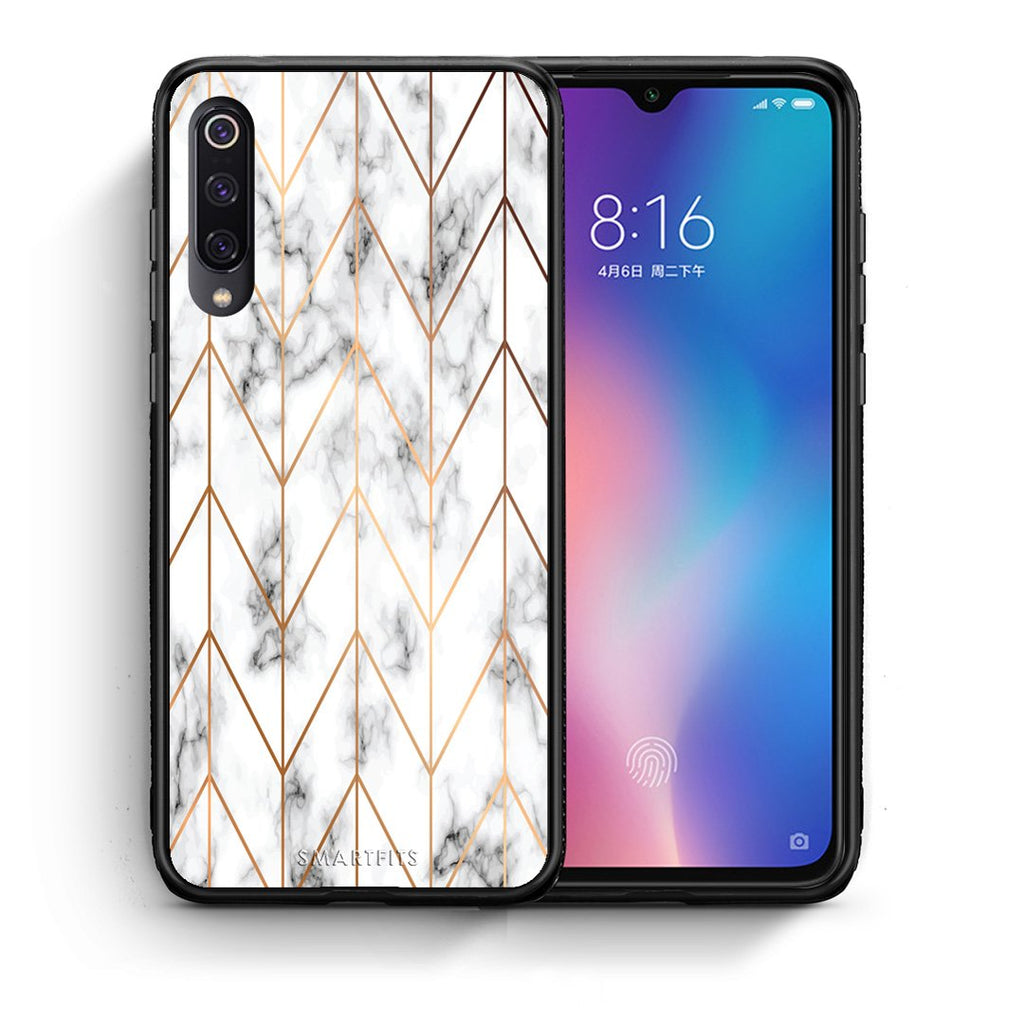 Θήκη Xiaomi Mi 9 Gold Geometric Marble από τη Smartfits με σχέδιο στο πίσω μέρος και μαύρο περίβλημα | Xiaomi Mi 9 Gold Geometric Marble case with colorful back and black bezels