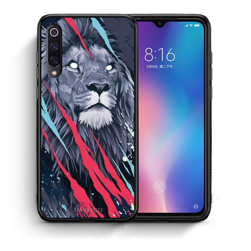 Θήκη Xiaomi Mi 9 Lion Designer PopArt από τη Smartfits με σχέδιο στο πίσω μέρος και μαύρο περίβλημα | Xiaomi Mi 9 Lion Designer PopArt case with colorful back and black bezels