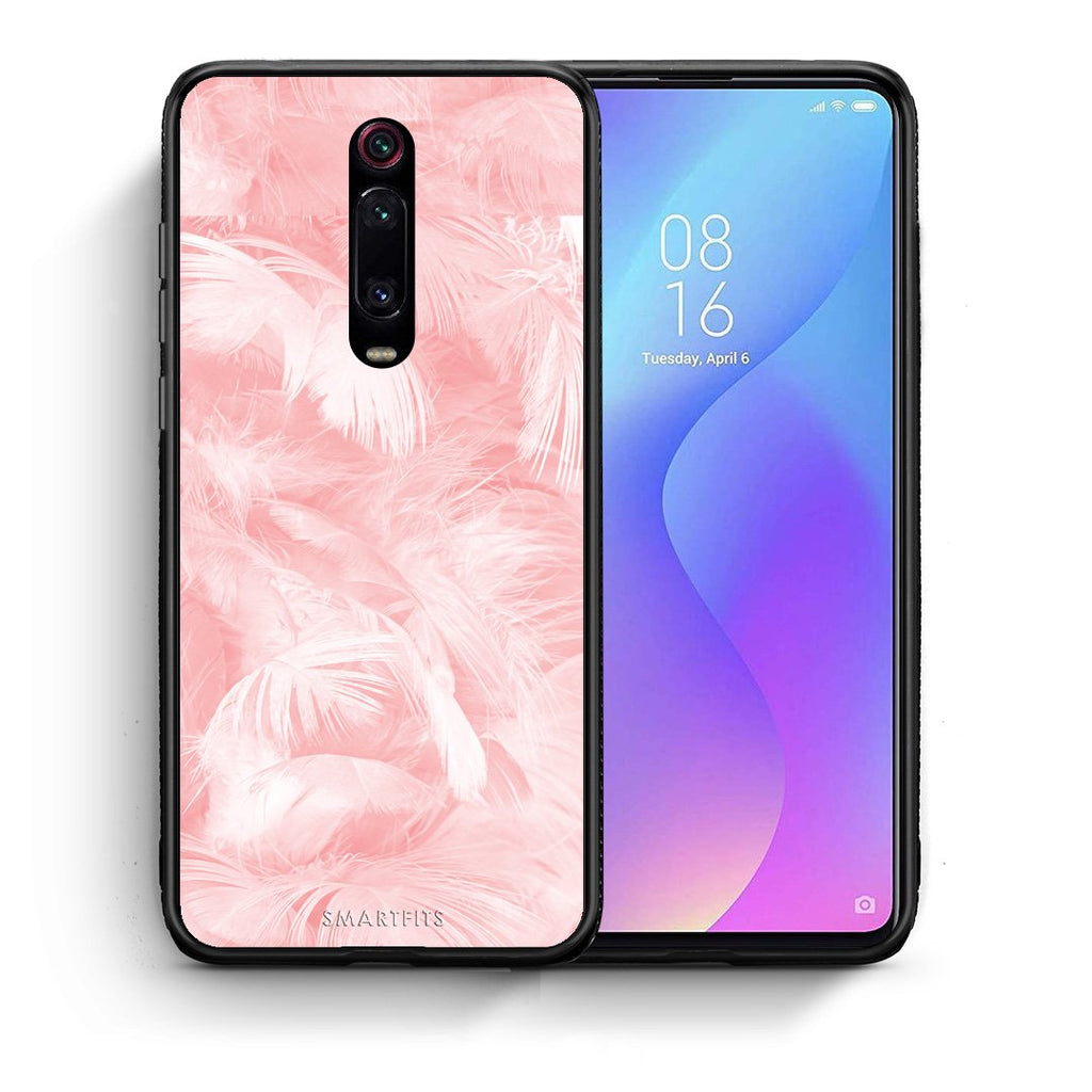 Θήκη Xiaomi Mi 9T Pink Feather Boho από τη Smartfits με σχέδιο στο πίσω μέρος και μαύρο περίβλημα | Xiaomi Mi 9T Pink Feather Boho case with colorful back and black bezels