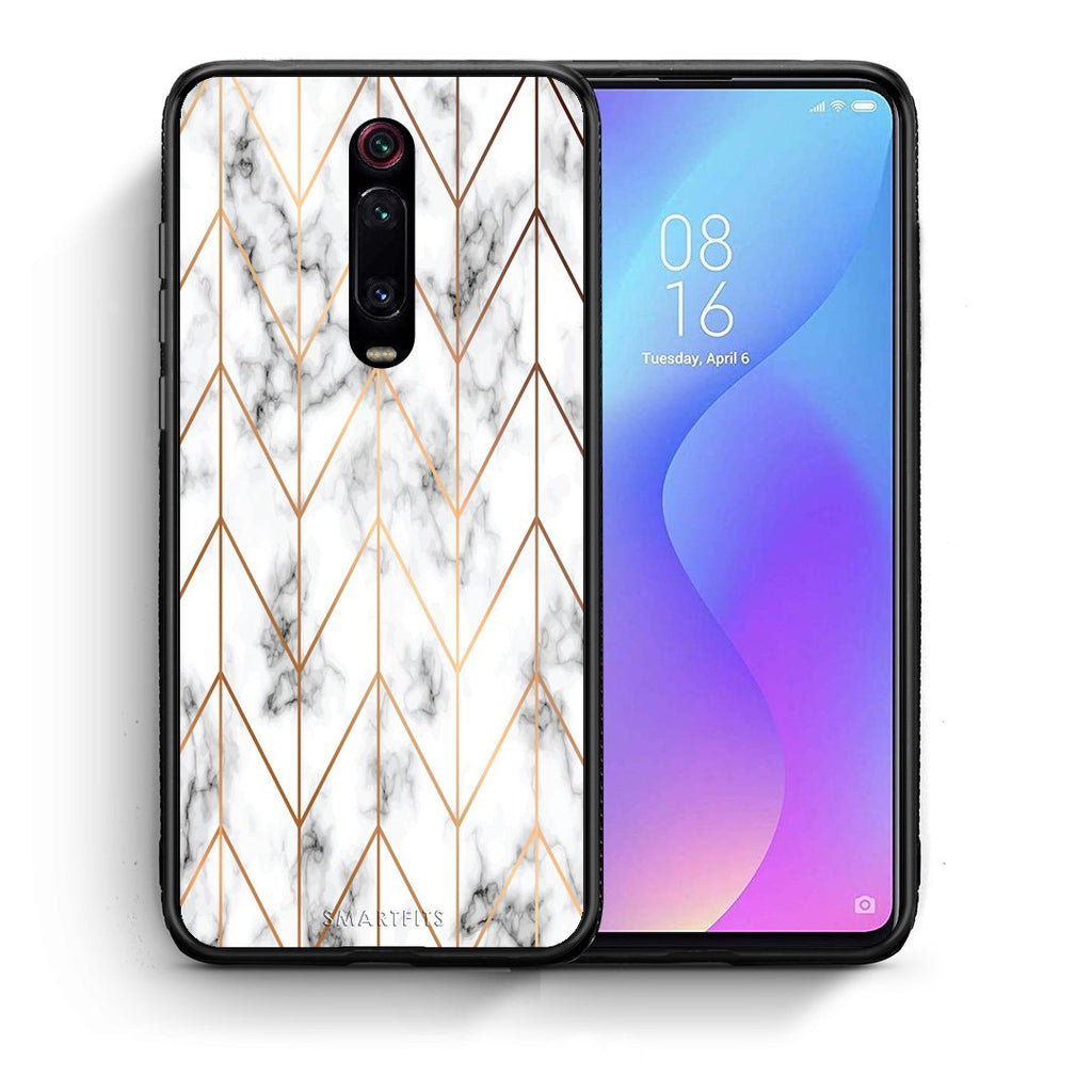 Θήκη Xiaomi Mi 9T Gold Geometric Marble από τη Smartfits με σχέδιο στο πίσω μέρος και μαύρο περίβλημα | Xiaomi Mi 9T Gold Geometric Marble case with colorful back and black bezels
