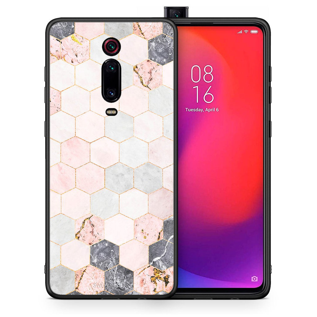 Θήκη Xiaomi Mi 9T Hexagon Pink Marble από τη Smartfits με σχέδιο στο πίσω μέρος και μαύρο περίβλημα | Xiaomi Mi 9T Hexagon Pink Marble case with colorful back and black bezels