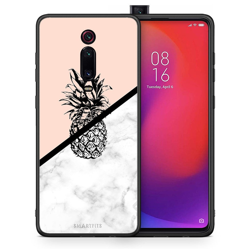 Θήκη Xiaomi Mi 9T Pineapple Marble από τη Smartfits με σχέδιο στο πίσω μέρος και μαύρο περίβλημα | Xiaomi Mi 9T Pineapple Marble case with colorful back and black bezels