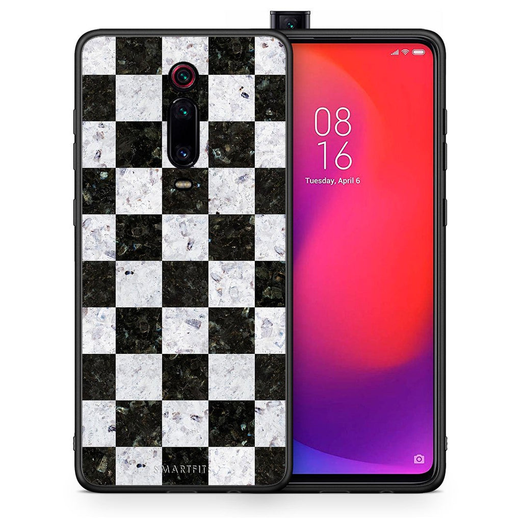 Θήκη Xiaomi Mi 9T Square Geometric Marble από τη Smartfits με σχέδιο στο πίσω μέρος και μαύρο περίβλημα | Xiaomi Mi 9T Square Geometric Marble case with colorful back and black bezels