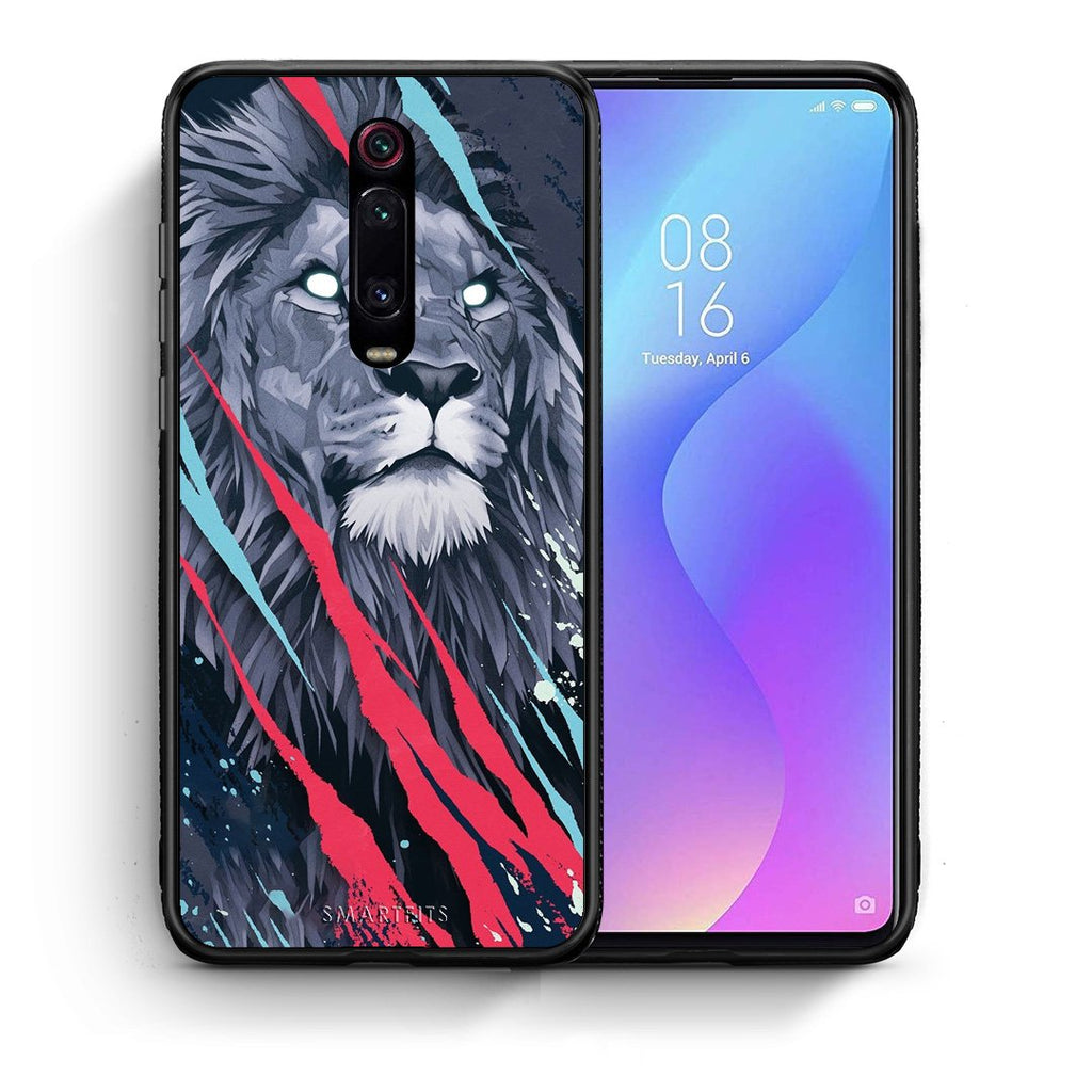 Θήκη Xiaomi Mi 9T Lion Designer PopArt από τη Smartfits με σχέδιο στο πίσω μέρος και μαύρο περίβλημα | Xiaomi Mi 9T Lion Designer PopArt case with colorful back and black bezels