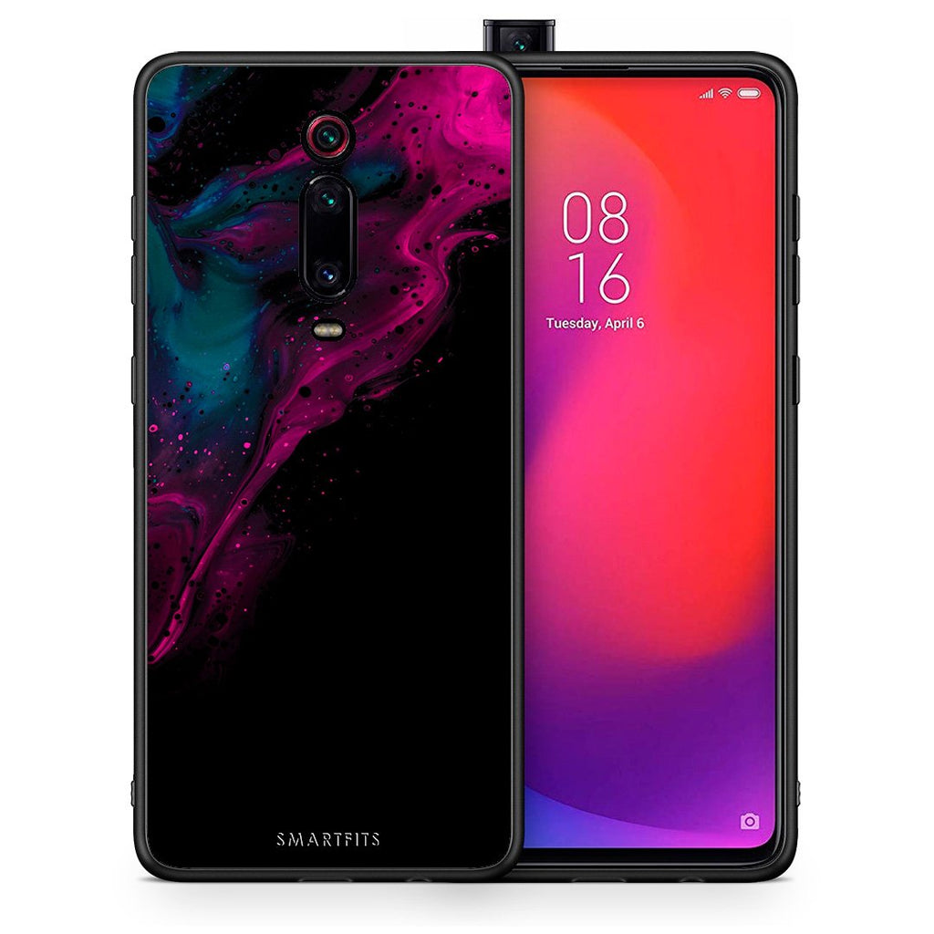Θήκη Xiaomi Mi 9T Pink Black Watercolor από τη Smartfits με σχέδιο στο πίσω μέρος και μαύρο περίβλημα | Xiaomi Mi 9T Pink Black Watercolor case with colorful back and black bezels