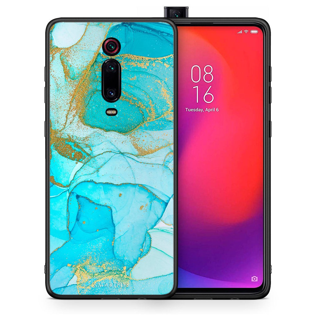 Θήκη Xiaomi Mi 9T Turquoise Gold Watercolor από τη Smartfits με σχέδιο στο πίσω μέρος και μαύρο περίβλημα | Xiaomi Mi 9T Turquoise Gold Watercolor case with colorful back and black bezels