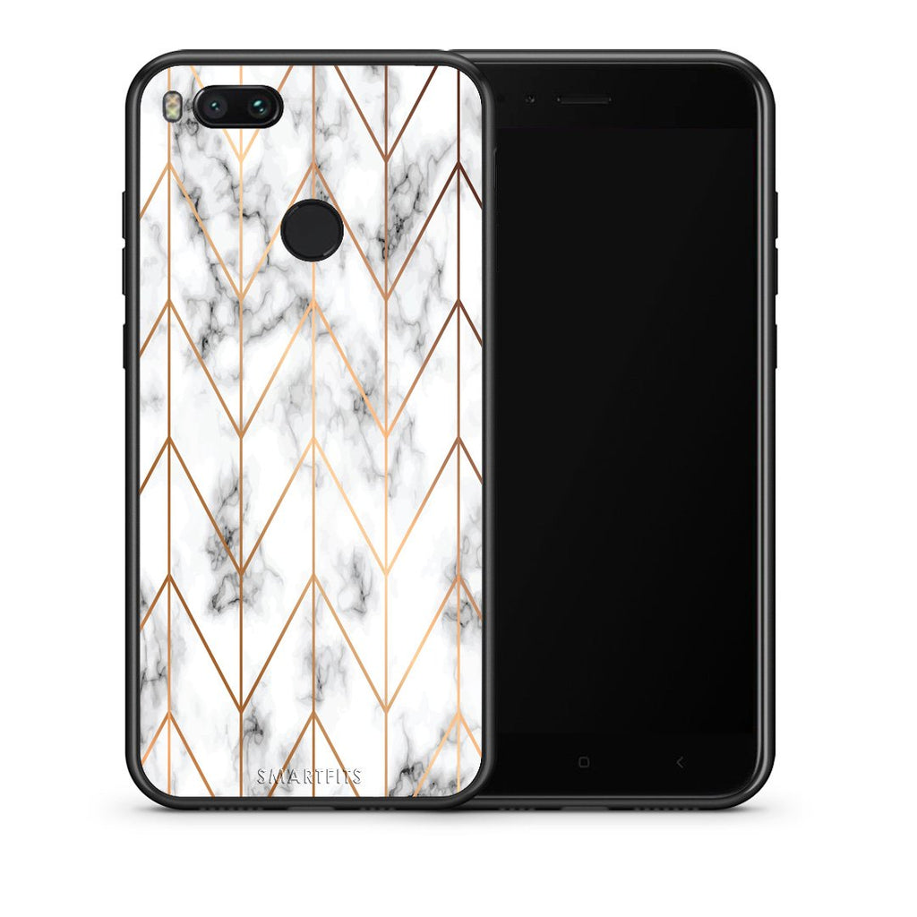 Θήκη Xiaomi Mi A1 Gold Geometric Marble από τη Smartfits με σχέδιο στο πίσω μέρος και μαύρο περίβλημα | Xiaomi Mi A1 Gold Geometric Marble case with colorful back and black bezels