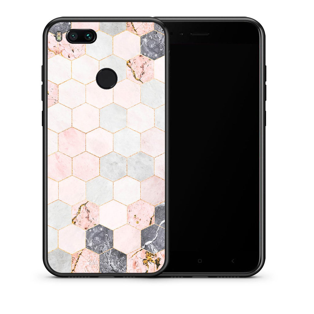 Θήκη Xiaomi Mi A1 Hexagon Pink Marble από τη Smartfits με σχέδιο στο πίσω μέρος και μαύρο περίβλημα | Xiaomi Mi A1 Hexagon Pink Marble case with colorful back and black bezels