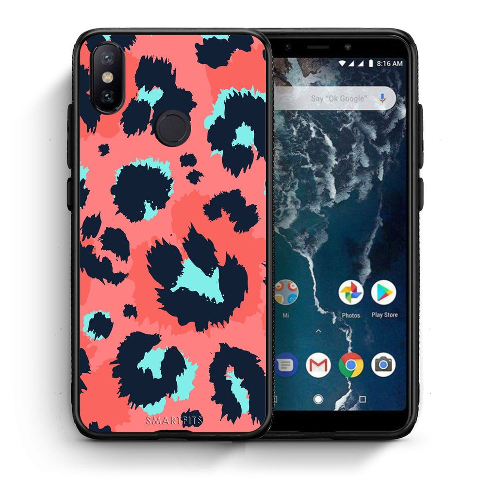 22 - Xiaomi Mi A2  Pink Leopard Animal case, cover, bumper