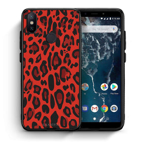 4 - Xiaomi Mi A2 Red Leopard Animal case, cover, bumper