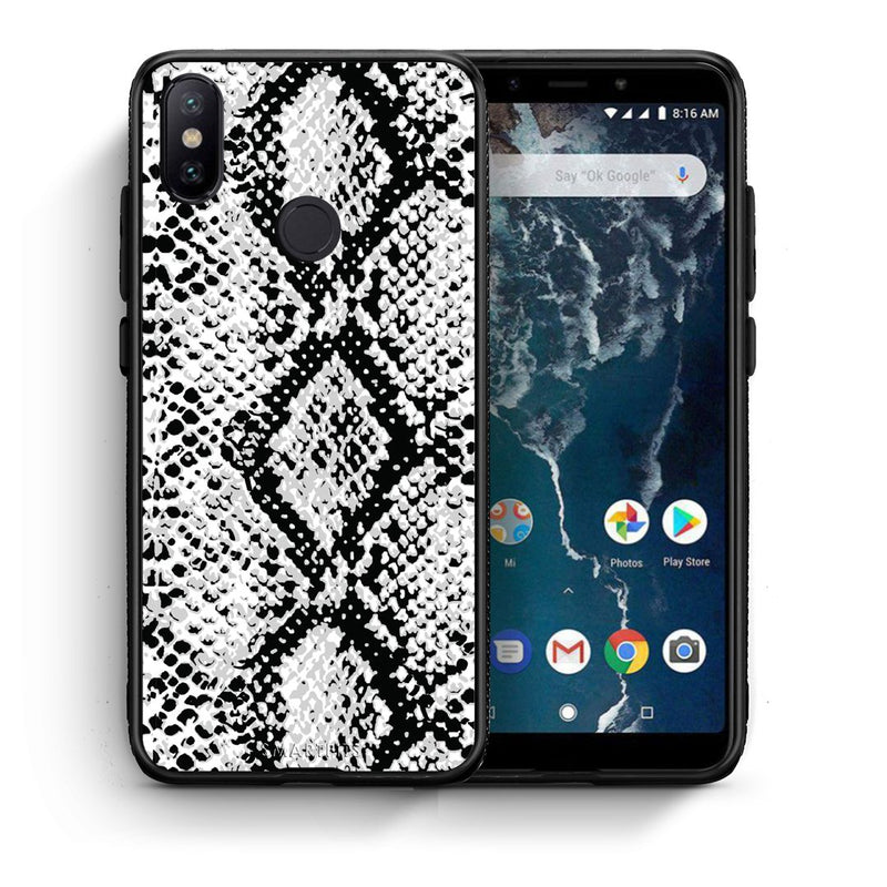 24 - Xiaomi Mi A2  White Snake Animal case, cover, bumper