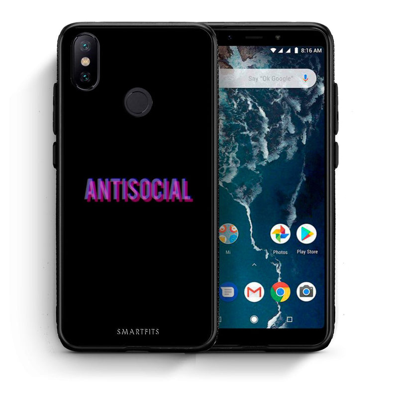 Θήκη Xiaomi Mi A2 Antisocial Person από τη Smartfits με σχέδιο στο πίσω μέρος και μαύρο περίβλημα | Xiaomi Mi A2 Antisocial Person case with colorful back and black bezels