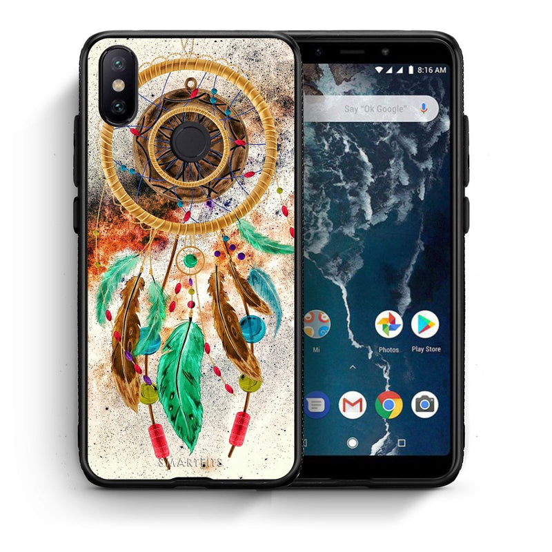 Θήκη Xiaomi Mi A2 DreamCatcher Boho από τη Smartfits με σχέδιο στο πίσω μέρος και μαύρο περίβλημα | Xiaomi Mi A2 DreamCatcher Boho case with colorful back and black bezels