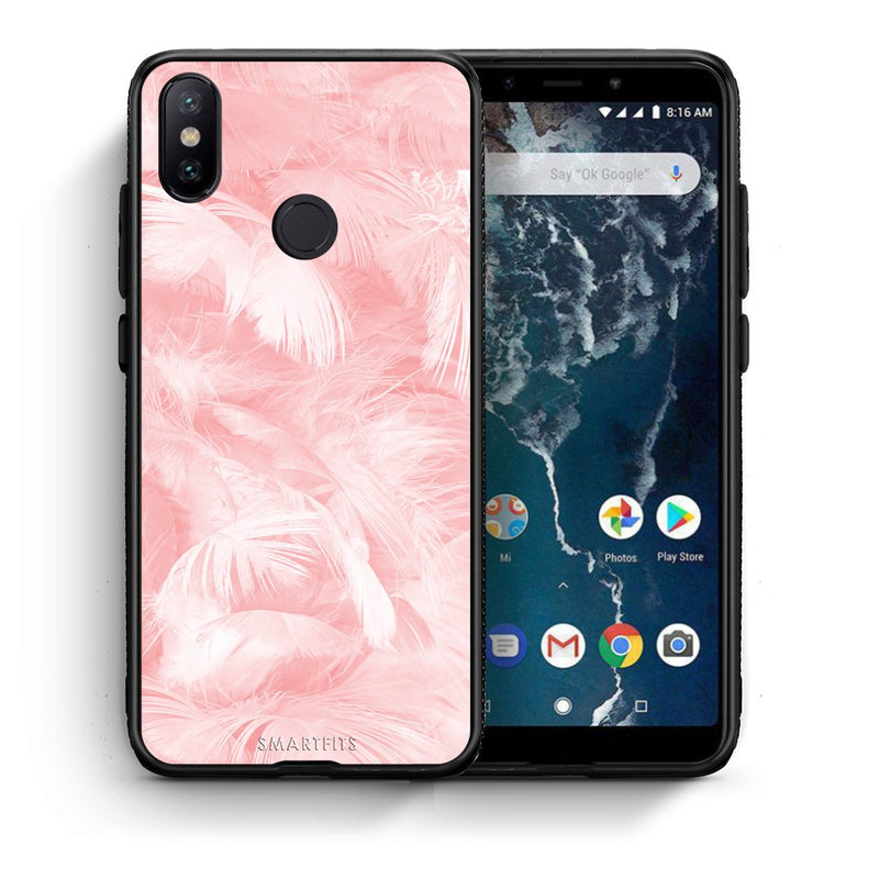 33 - Xiaomi Mi A2  Pink Feather Boho case, cover, bumper