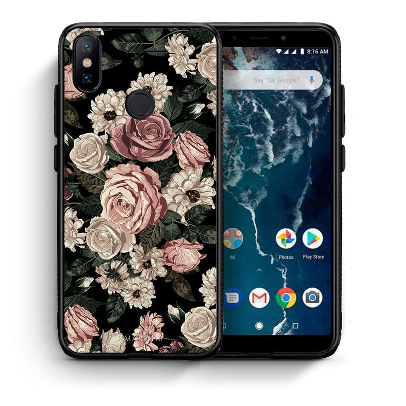 Θήκη Xiaomi Mi A2 Wild Roses Flower από τη Smartfits με σχέδιο στο πίσω μέρος και μαύρο περίβλημα | Xiaomi Mi A2 Wild Roses Flower case with colorful back and black bezels
