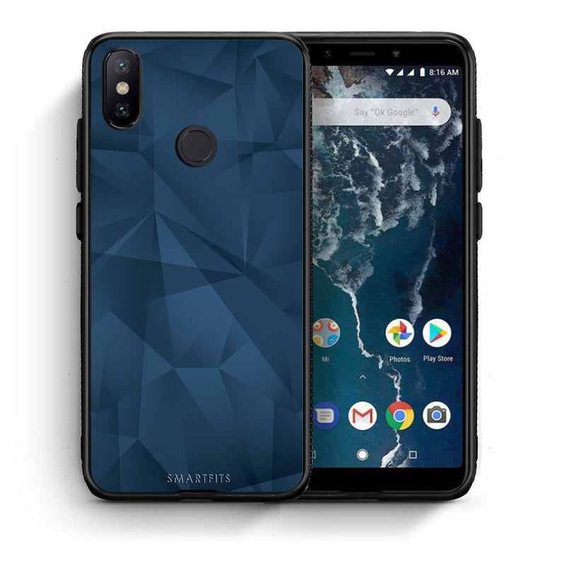 39 - Xiaomi Mi A2  Blue Abstract Geometric case, cover, bumper