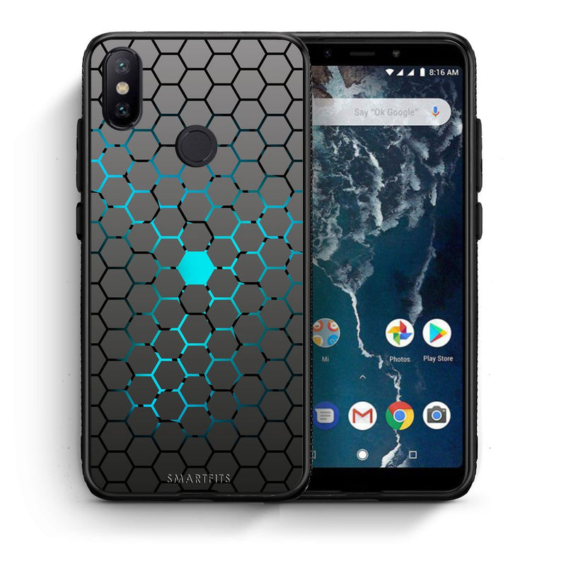 Θήκη Xiaomi Mi A2 Hexagonal Geometric από τη Smartfits με σχέδιο στο πίσω μέρος και μαύρο περίβλημα | Xiaomi Mi A2 Hexagonal Geometric case with colorful back and black bezels