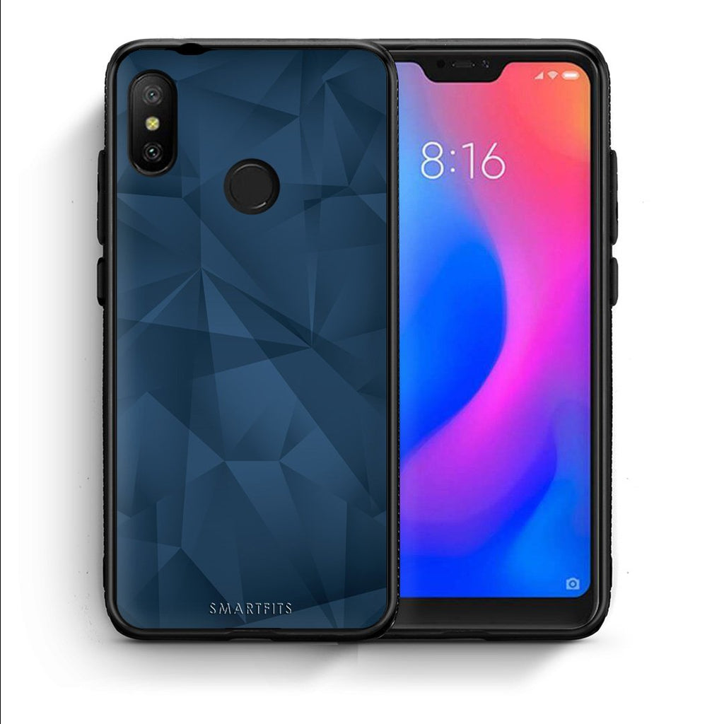 39 - Xiaomi Mi A2 Lite  Blue Abstract Geometric case, cover, bumper