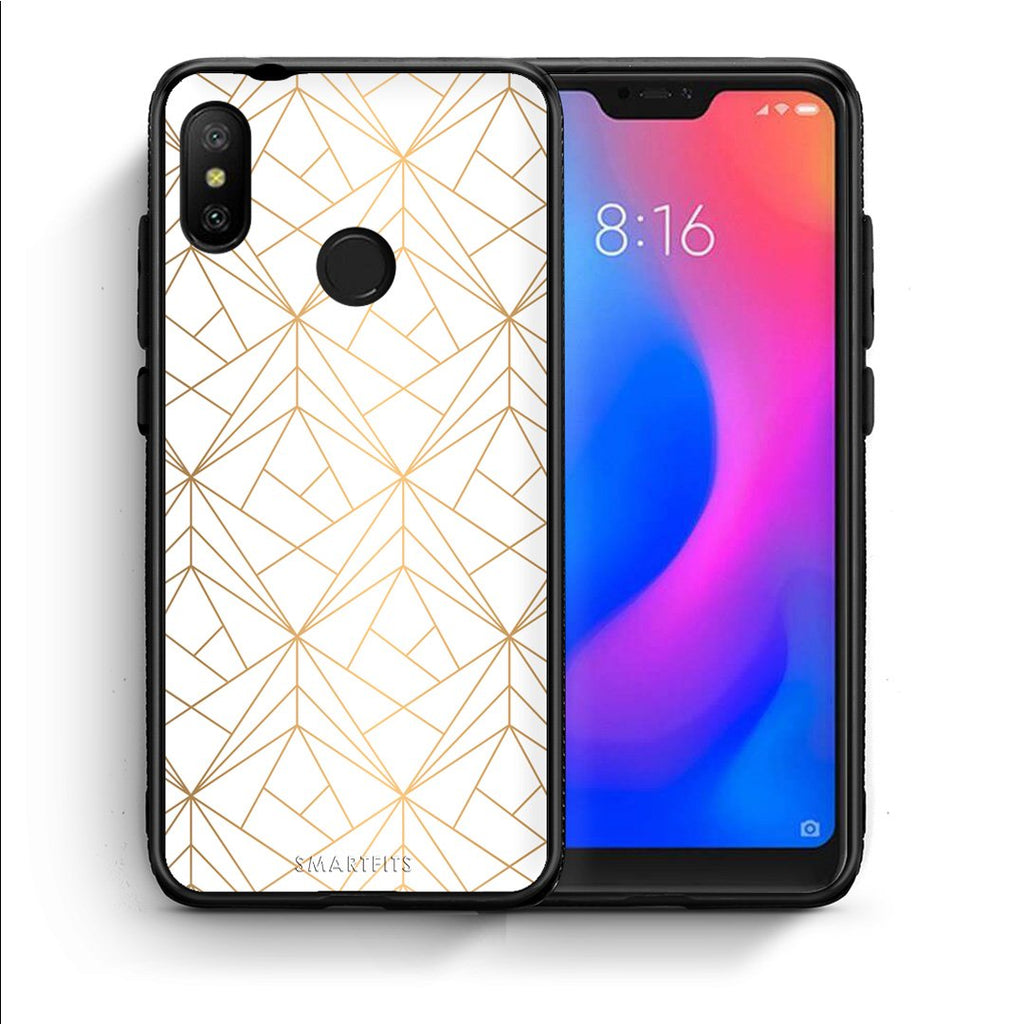 111 - Xiaomi Mi A2 Lite  Luxury White Geometric case, cover, bumper