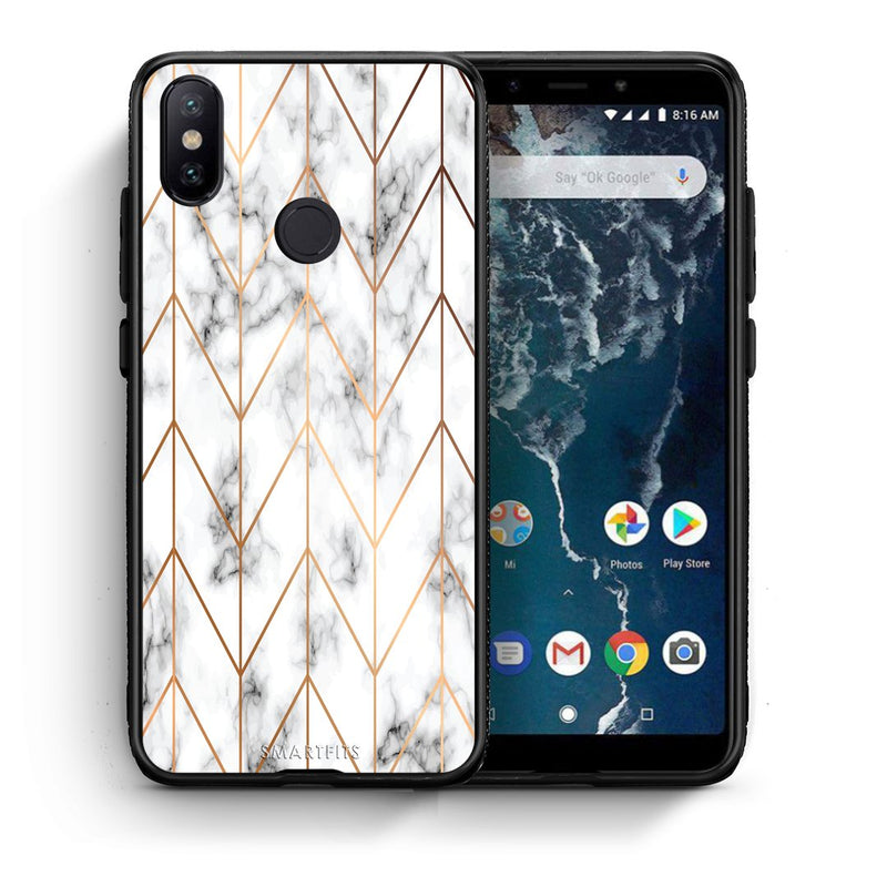 Θήκη Xiaomi Mi A2 Gold Geometric Marble από τη Smartfits με σχέδιο στο πίσω μέρος και μαύρο περίβλημα | Xiaomi Mi A2 Gold Geometric Marble case with colorful back and black bezels