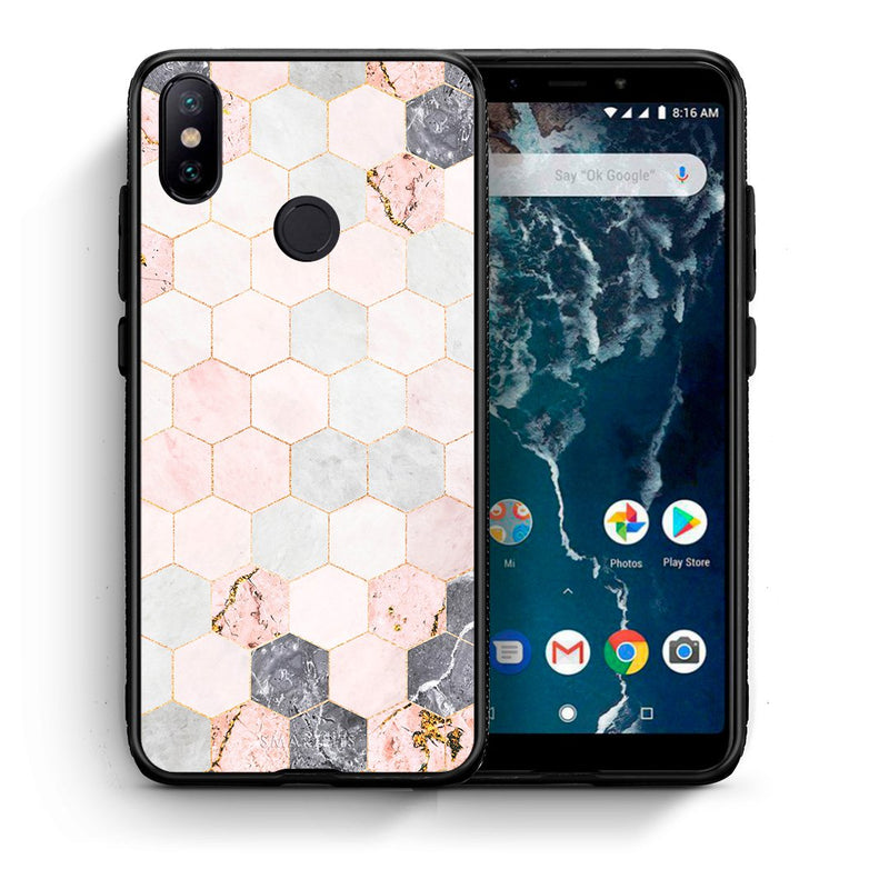Θήκη Xiaomi Mi A2 Hexagon Pink Marble από τη Smartfits με σχέδιο στο πίσω μέρος και μαύρο περίβλημα | Xiaomi Mi A2 Hexagon Pink Marble case with colorful back and black bezels