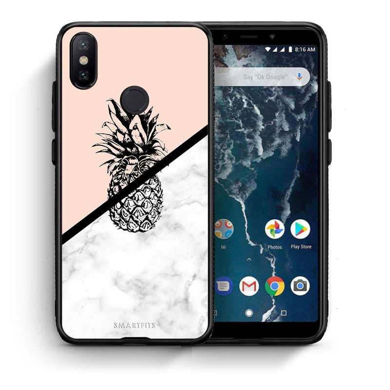 Θήκη Xiaomi Mi A2 Pineapple Marble από τη Smartfits με σχέδιο στο πίσω μέρος και μαύρο περίβλημα | Xiaomi Mi A2 Pineapple Marble case with colorful back and black bezels