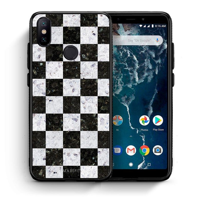 Θήκη Xiaomi Mi A2 Square Geometric Marble από τη Smartfits με σχέδιο στο πίσω μέρος και μαύρο περίβλημα | Xiaomi Mi A2 Square Geometric Marble case with colorful back and black bezels