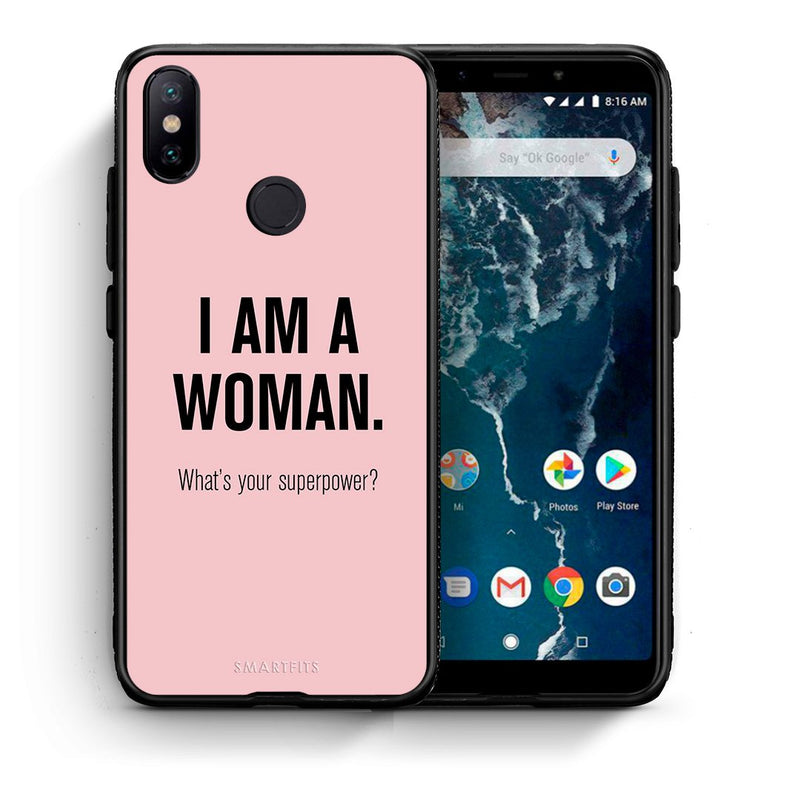 Θήκη Xiaomi Mi A2 Superpower Woman από τη Smartfits με σχέδιο στο πίσω μέρος και μαύρο περίβλημα | Xiaomi Mi A2 Superpower Woman case with colorful back and black bezels