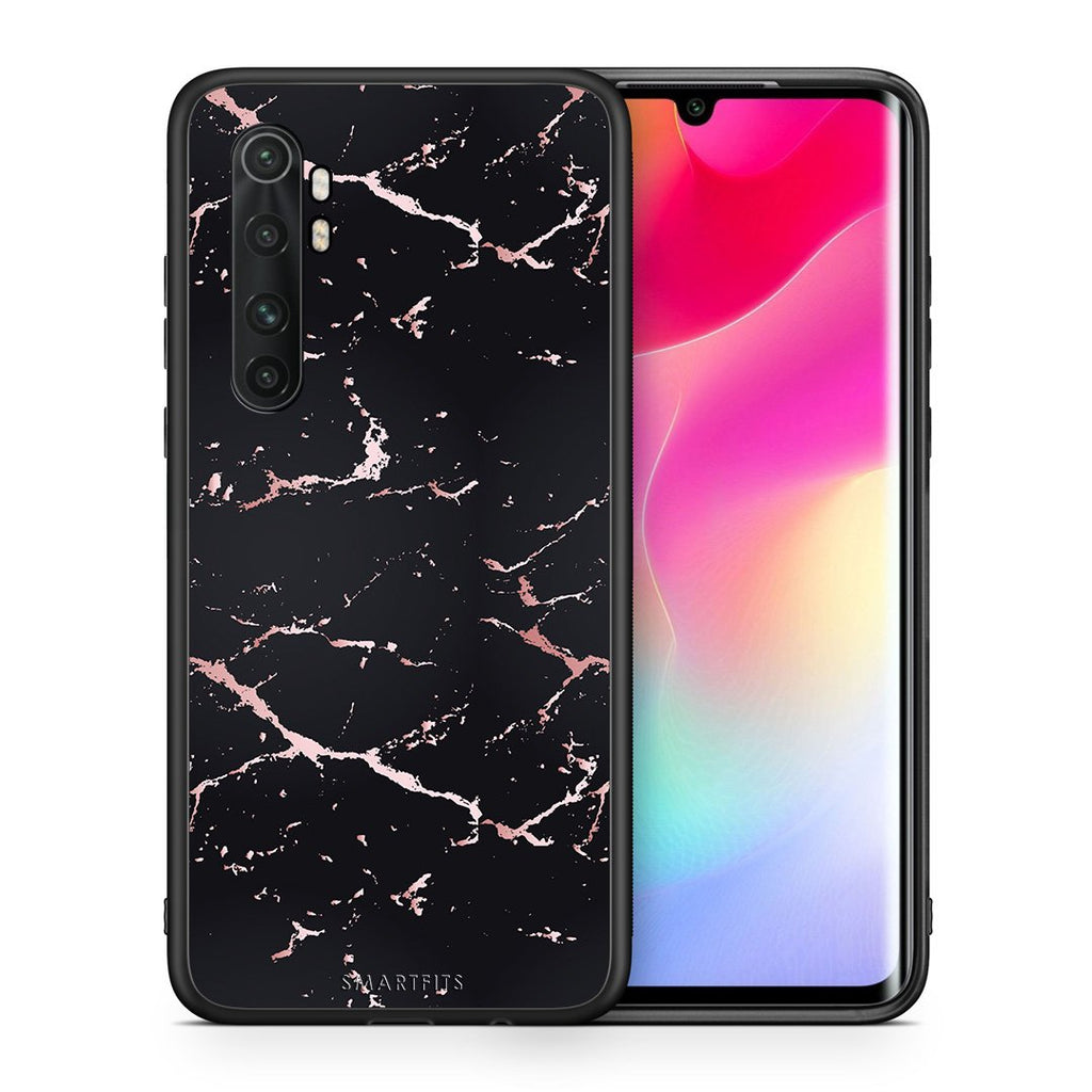 Θήκη Xiaomi Mi Note 10 Lite Black Rosegold Marble από τη Smartfits με σχέδιο στο πίσω μέρος και μαύρο περίβλημα | Xiaomi Mi Note 10 Lite Black Rosegold Marble case with colorful back and black bezels