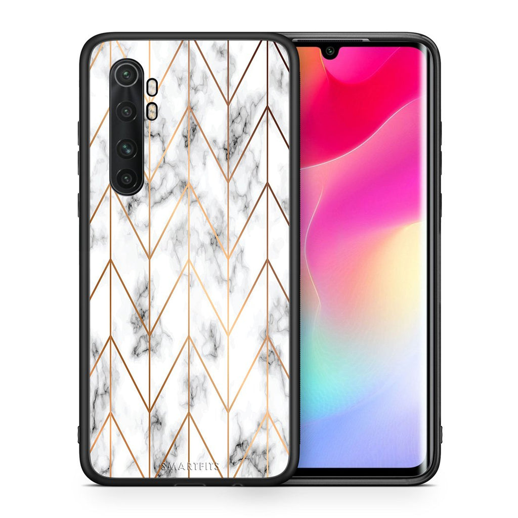 Θήκη Xiaomi Mi Note 10 Lite Gold Geometric Marble από τη Smartfits με σχέδιο στο πίσω μέρος και μαύρο περίβλημα | Xiaomi Mi Note 10 Lite Gold Geometric Marble case with colorful back and black bezels