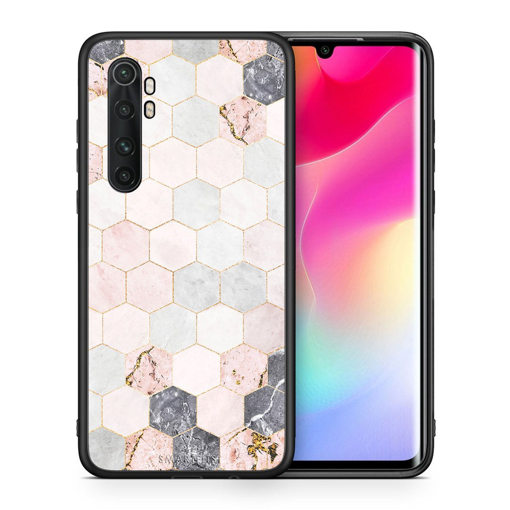 Θήκη Xiaomi Mi Note 10 Lite Hexagon Pink Marble από τη Smartfits με σχέδιο στο πίσω μέρος και μαύρο περίβλημα | Xiaomi Mi Note 10 Lite Hexagon Pink Marble case with colorful back and black bezels