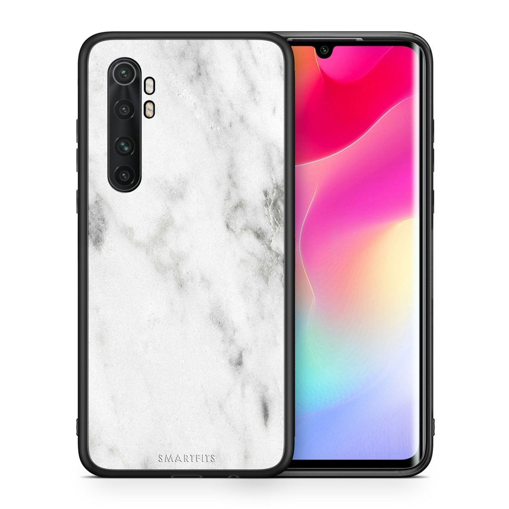 Θήκη Xiaomi Mi Note 10 Lite White Marble από τη Smartfits με σχέδιο στο πίσω μέρος και μαύρο περίβλημα | Xiaomi Mi Note 10 Lite White Marble case with colorful back and black bezels