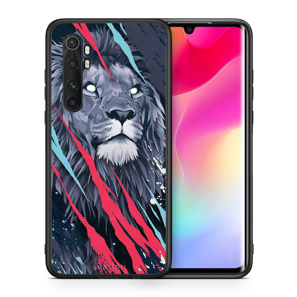 Θήκη Xiaomi Mi Note 10 Lite Lion Designer PopArt από τη Smartfits με σχέδιο στο πίσω μέρος και μαύρο περίβλημα | Xiaomi Mi Note 10 Lite Lion Designer PopArt case with colorful back and black bezels