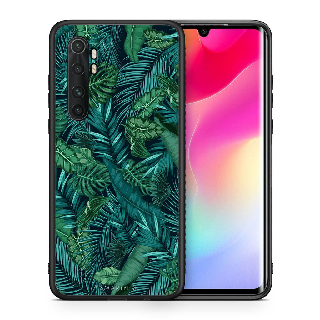 Θήκη Xiaomi Mi Note 10 Lite Leaves Tropic από τη Smartfits με σχέδιο στο πίσω μέρος και μαύρο περίβλημα | Xiaomi Mi Note 10 Lite Leaves Tropic case with colorful back and black bezels